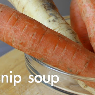 Roasted Carrot And Parsnip Soup With Soy-glazed Shiitake Mushrooms.