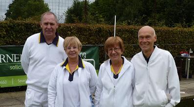 Photo: Adrian Philpott & Eunice Hargreaves against Christine & Brian Perryman.