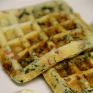 Ham, Cheese, and Spinach Waffles