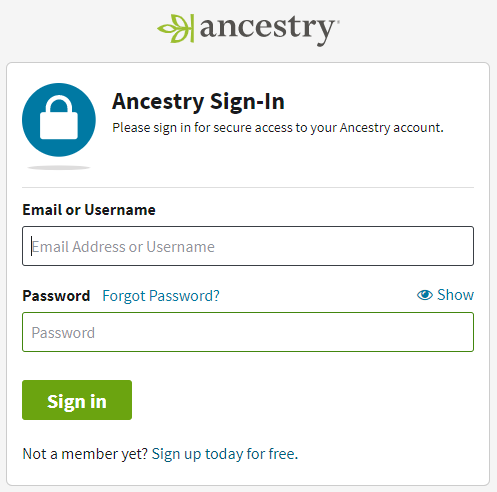 To sign in to your Ancestry account you must enter your email and password.