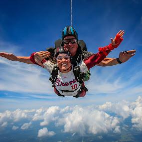 Always Brave by Bill Killillay - News & Events Sports ( clouds, skydiving, nikki hobus, always brave, braves fan, braves, skydive monroe, contest )