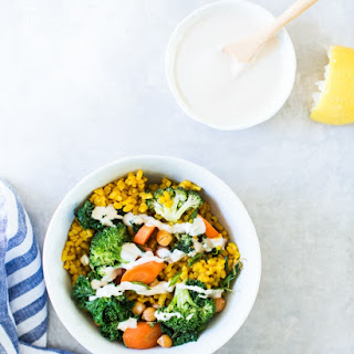 Broccoli and Turmeric Yellow Rice Bowls.
