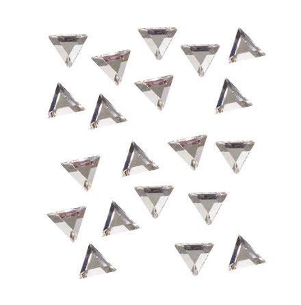 20 strasstenar trianglar, silver, 3mm
