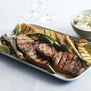 Grilled Ginger-Sesame Pork Chops with Pineapple & Scallions