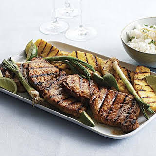Grilled Ginger-Sesame Pork Chops with Pineapple & Scallions.