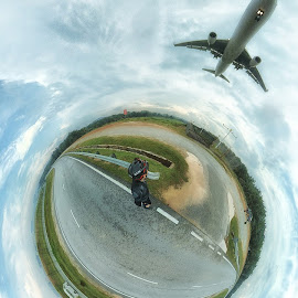 Touch Down by Lam Kee - Digital Art Places ( tiny planet, klia )