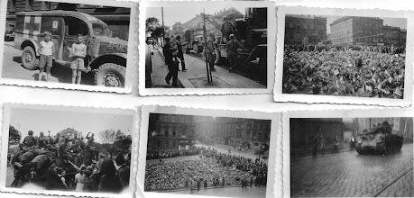 Photo: Ten člobrda bez trika, je můj táta. Fotky dělal děda, pan Ladislav Řežábek v kětnu 1945.