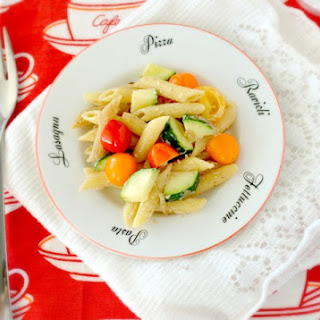 Creamy Pasta with Goat Cheese and Veggies.