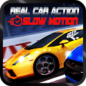 Real car action with slow motion in new york city icon