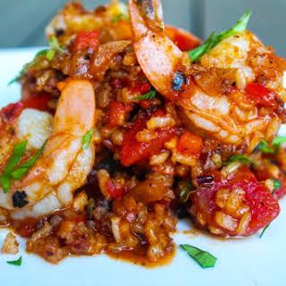Jumbo Shrimp and Red Rice.