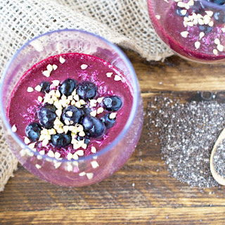 Lucuma Chia Seed Pudding with Blueberry Compote.