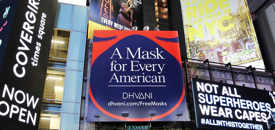 A Mask for Every American ad campaign billboard created by company Dhvani.
