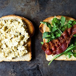 Bacon and Egg Salad Sandwich with Dukkah and Peppery Greens.