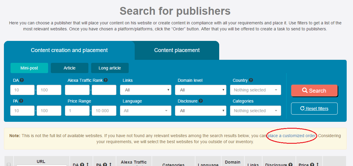 search for publishers page