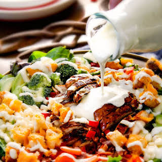 Bacon Ranch Chicken Salad with Cheesy Croutons.