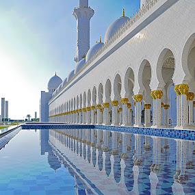 The Mosque by Jbern Eugenio - Buildings & Architecture Architectural Detail ( reflection, building, detail, blue, art, fine art, architecture, travel )