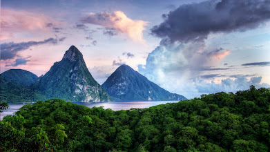 Photo: I am here.  This is the view I see when I wake up in the morning. It's also the view I see when I take a shower, since it doesn't have a wall either.  Welcome to St. Lucia. Let it all hang out.