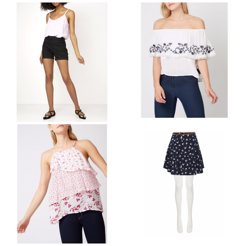 festival skirts, shorts, tops