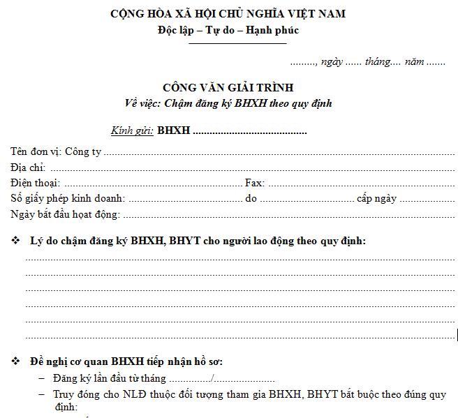 Công văn giải trình việc chậm đăng ký BHXH.