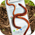Earthworm in phone slimy joke icon
