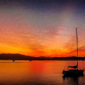 Falling Sun by Ravi Patel - Landscapes Sunsets & Sunrises