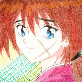 Rurouni Kenshin by Israel  Padolina - Drawing All Drawing ( kenshin himura, cartoon, color pencil, samurai x, anime )