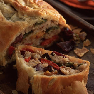 "Sausage and Roasted Vegetable ""Wellington"""