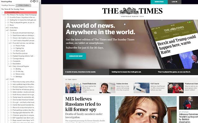 Captura de tela do plug-in headings map funcionando. Ele exibe uma barra do lado esquerdo do site exibindo todos os cabeçalhos e sua ordem no site