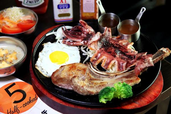 台南美食-午食5分鐵板牛排 麻豆店~肉肉控必衝超值牛排店,✔混搭✔厚切✔戰斧還有珍奶跟沙拉吧吃到飽