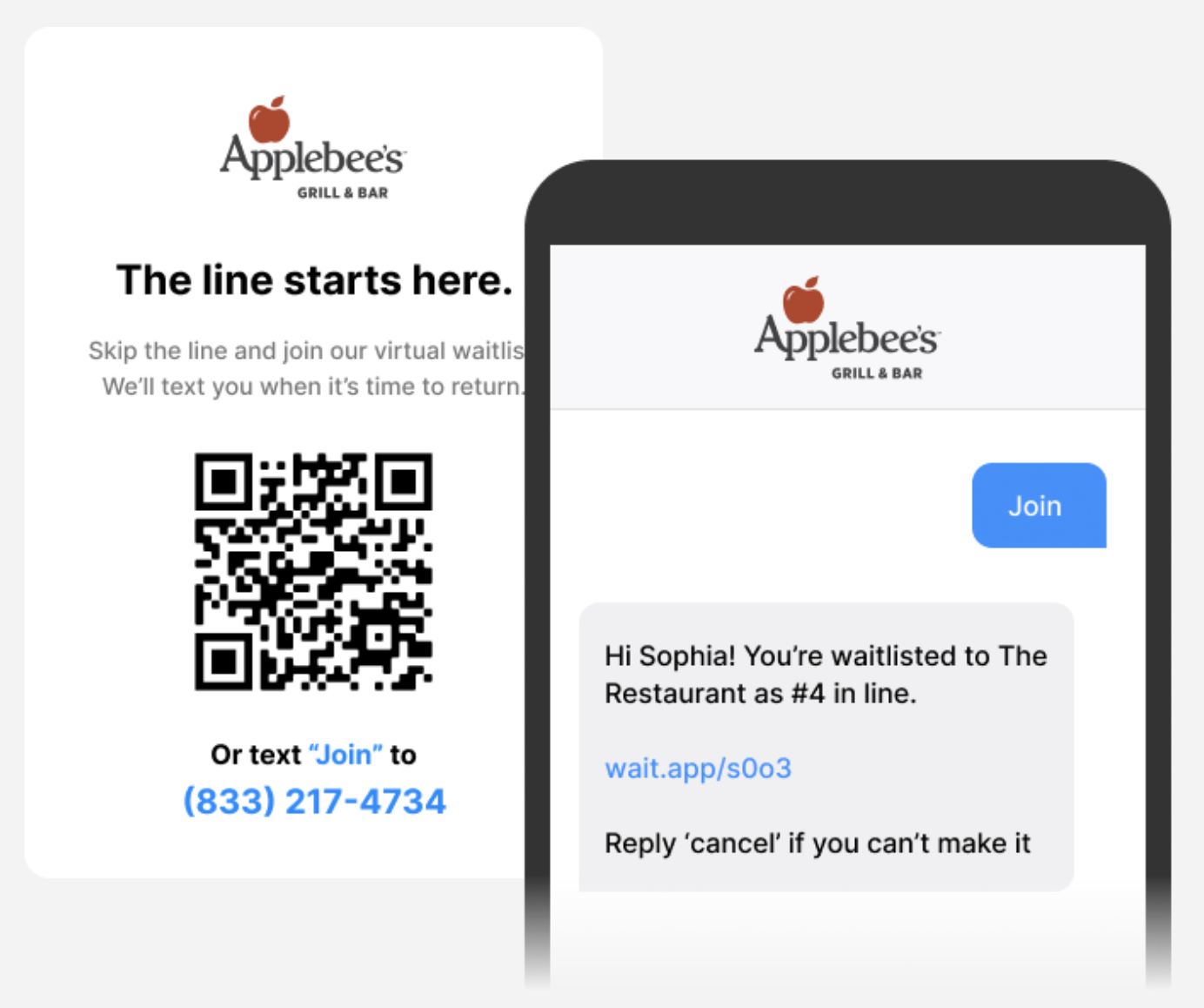 Waitwhile waitlist app screenshots of join waitlist by text or QR code