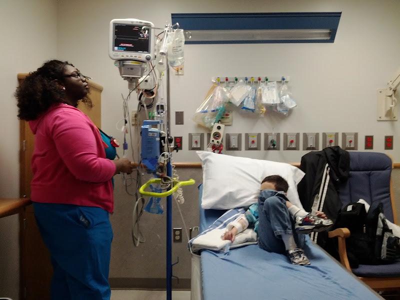 Photo: Domenic's nurse checking on everything