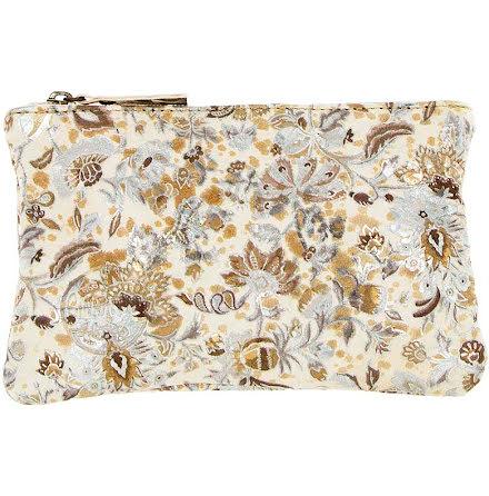 Mini väska blommig guld 181 i skinn med kreditkortsficka