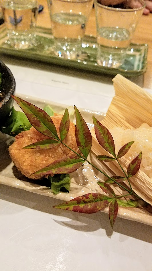 Chef Naoko's Shizuku hot small plate during dinner of vegan Miso Glazed Ota Tofu with Oregon Mushrooms