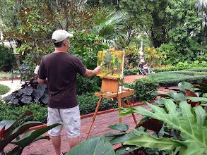 Photo: Brennan painting plein air at the Society of the Four Arts 12-12-13