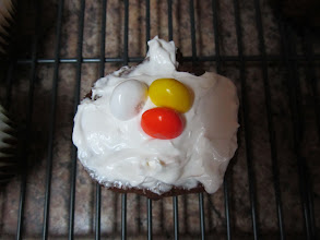 Photo: When you are frosting your cupcake with the NEW Cool Whip Frosting you can use a little or alot, it doesn't matter because it so light and fluffy. In the middle of our Pumpkin Pie Cupcake is Candy Corn M&M.