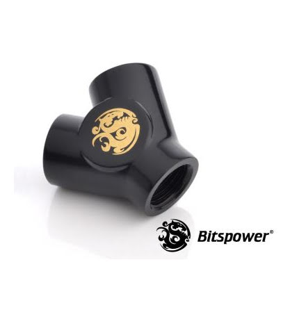 "Bitspower Y-blokk, 1/4""BSPx3, Matt Black"