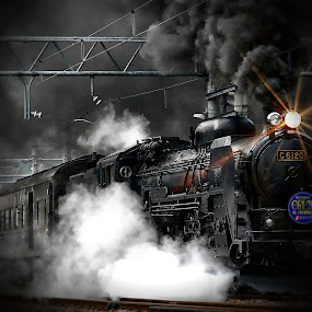 Steam Goes Rollin' by Jay Reich - Transportation Trains ( didfne, ghyfnskre, old, stuff, train, jayricart, kdoiej, black, thing, steam,  )