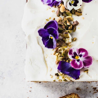 Teff Flour Cardamom Pistachio Cake with Cream Cheese Frosting.
