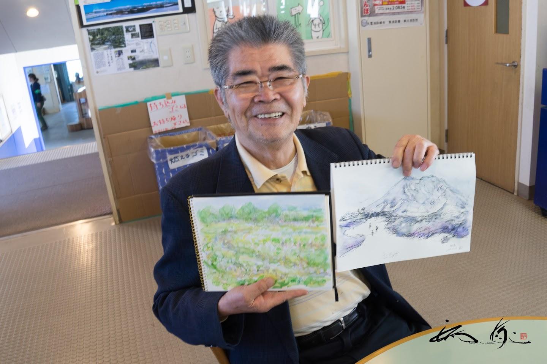 朝ホテル周辺を散歩して描いた彩色スケッチ&旭岳スケッチ