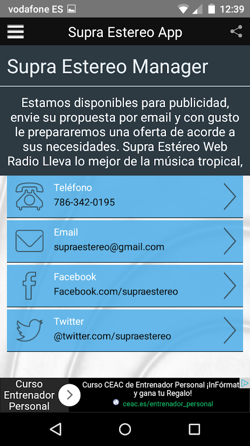 Supra Estéreo App- screenshot
