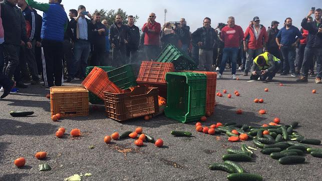 Los agricultores cortan la autovía y tiran hortalizas.