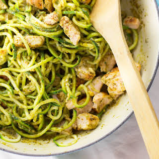 One Pot Pesto Chicken Zucchini Noodle Pasta.