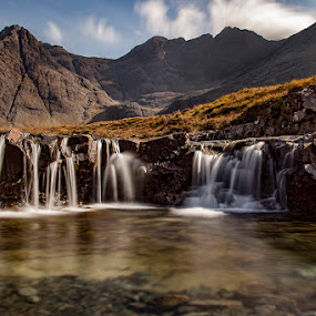 Fairy pool falls, Isle of Skye, Scotland by Chris Duffy - Landscapes Waterscapes ( water, scotland, mountains, fairy pools, colourful, waterscape, colorful, waterfall, long exposure, rocks, isle of skye )