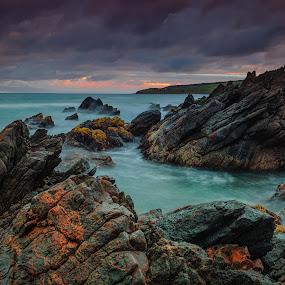 Colour canvas by Nicole Rix - Landscapes Waterscapes ( water, clouds, blue, waterscape, sunset, sea, ocean, view, seascape, rocks )