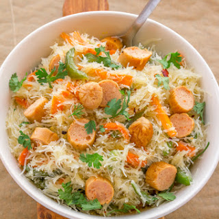 Stir Fried Rice Noodles with Chicken Sausage