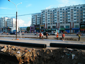 Photo: road expanding in QRRS area, eastern Qiqihar. gas pipe landing also in progress.