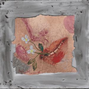 volupte-peinture-acrylique-papier magazine  printemps renaissance-sophie-lormeau-art-singulier-figuratif-contemporain-portrait-imaginaire sourire jeune pousse souvenir artist emergent power flower fleur bleue
