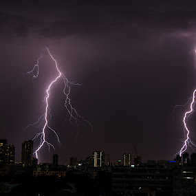 Lightning Storm In Bangkok. by John Greene - Landscapes Weather ( flash, lightning, nature, weather, double flash, john greene, storm )