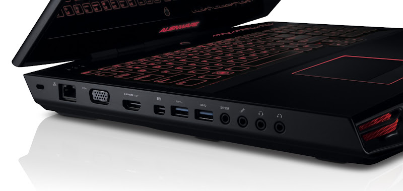 Photo: New Alienware M17x notebook in Stealth Black (left side port view).