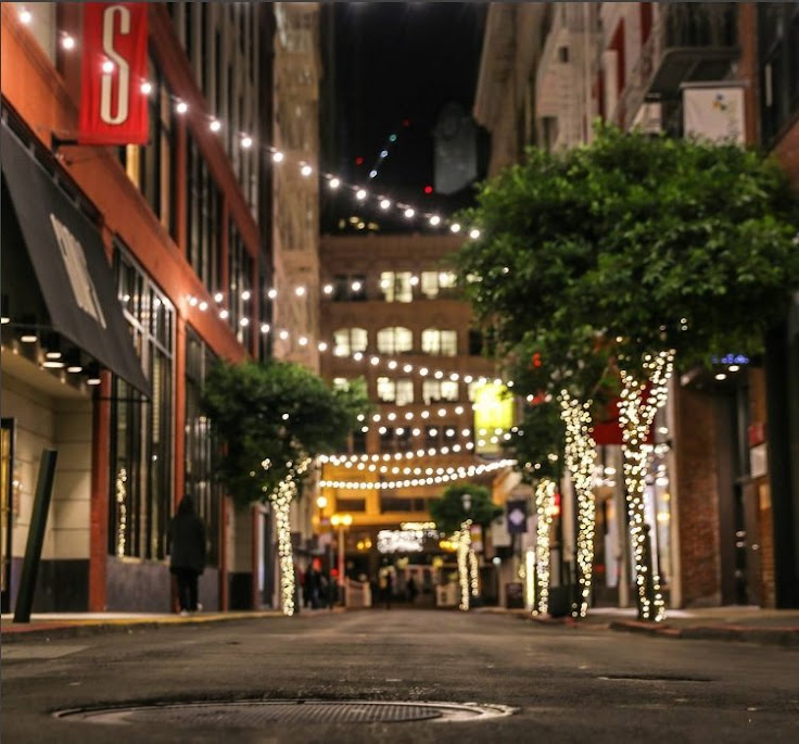The lights strung up along Maiden Lane. Photo: Eddie H.